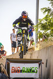 Toletvm Urban DH competition of mountain bike. TOLEDO, SPAIN - SEPTEMBER 9: Unidentified competitor during the  I Toletvm Urban DH competition on September 9 Stock Image