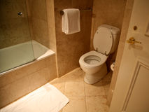 Toliet in bathroom made in marble stock images