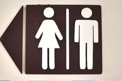 A toliet room sign in the street Royalty Free Stock Image