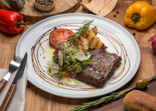 Toliet steak on a white plate Royalty Free Stock Photography