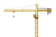 Tolkning av den gula konstruktionskranen som isoleras på vit bakgrund Royaltyfri Foto
