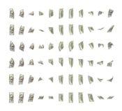 Tolkning av dollarräkningar som fritt roterar runt om dess axlar som isoleras på vit bakgrund Arkivfoto