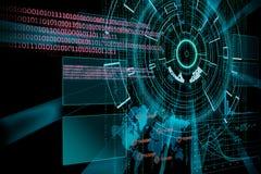 Tolkning av ett futuristiskt cyberbakgrundsmål med laser-lig Royaltyfria Bilder