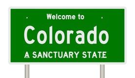 Tolkning av huvudvägtecknet för fristadtillståndet Colorado vektor illustrationer