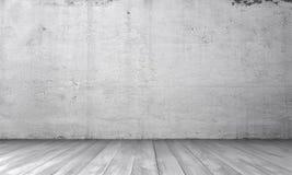 Tolkning av inre med den vita betongväggen och trägolvet Royaltyfria Foton