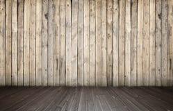 Tolkning av inre med det träväggen och golvet Arkivfoto