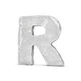 Tolkning av stenbokstav R som isoleras på vit bakgrund royaltyfri illustrationer