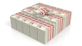 tolkning 3D av 50 buntar för eurosedelpackar stock illustrationer