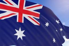 tolkning 3D av den Australien flaggan som vinkar på bakgrund för blå himmel Royaltyfri Fotografi