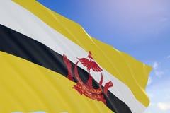 tolkning 3D av den Brunei flaggan som vinkar på bakgrund för blå himmel Royaltyfri Bild