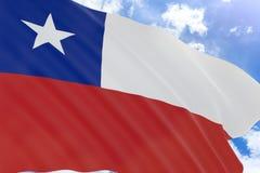 tolkning 3D av den Chile flaggan som vinkar på bakgrund för blå himmel royaltyfri illustrationer
