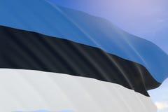 tolkning 3D av den Estland flaggan som vinkar på bakgrund för blå himmel Royaltyfria Bilder