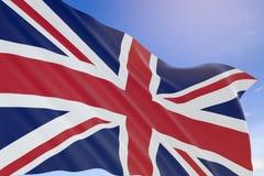 tolkning 3D av den Förenade kungariket flaggan som vinkar på backgroun för blå himmel Arkivbilder