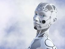 tolkning 3D av den kvinnliga robotframsidan Royaltyfria Foton