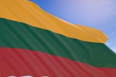 tolkning 3D av den Litauen flaggan som vinkar på bakgrund för blå himmel Royaltyfri Fotografi