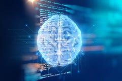 tolkning 3d av den mänskliga hjärnan på teknologibakgrund Arkivfoton
