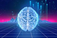 tolkning 3d av den mänskliga hjärnan på teknologibakgrund Royaltyfri Foto