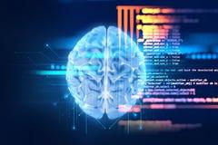 tolkning 3d av den mänskliga hjärnan på teknologibakgrund Arkivfoto