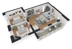 tolkning 3d av den möblerade hem- lägenheten Royaltyfria Bilder