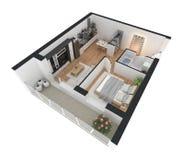 tolkning 3d av den möblerade hem- lägenheten Royaltyfri Fotografi