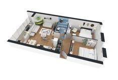 tolkning 3d av den möblerade hem- lägenheten Arkivfoto
