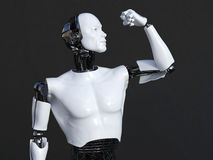 tolkning 3D av den manliga roboten som böjer hans bicepmuskel Royaltyfri Foto
