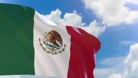 tolkning 3D av den Mexico flaggan som vinkar på bakgrund för blå himmel med den alfabetiska kanalen