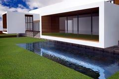 tolkning 3D av den moderna herrgården Royaltyfri Bild