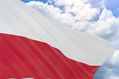 tolkning 3D av den Polen flaggan som vinkar på bakgrund för blå himmel Royaltyfri Foto