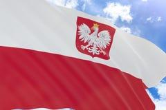 tolkning 3D av den Polen flaggan som vinkar på bakgrund för blå himmel Arkivfoto