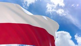 tolkning 3D av den Polen flaggan som vinkar på bakgrund för blå himmel med den alfabetiska kanalen