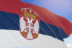 tolkning 3D av den Serbien flaggan som vinkar på bakgrund för blå himmel Royaltyfri Bild