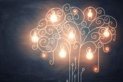 tolkning 3d av den stora gloving samlingen av ljusa kulor som växer på ett curvy glänsande träd royaltyfri foto