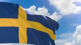 tolkning 3D av den Sverige flaggan som vinkar på bakgrund för blå himmel med den alfabetiska kanalen vektor illustrationer