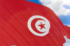 tolkning 3D av den Tunisien flaggan som vinkar på bakgrund för blå himmel stock illustrationer