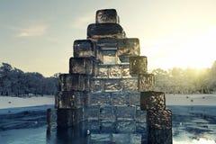 tolkning 3d av det builded huset med iskuber på den djupfrysta sjön i f Arkivbilder
