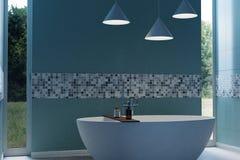 tolkning 3d av det cyan moderna badrummet med det fria stående badkaret Royaltyfri Fotografi