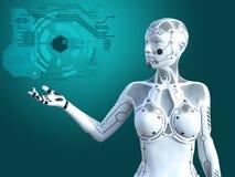 tolkning 3D av det digitala begreppet för kvinnlig robot royaltyfri fotografi