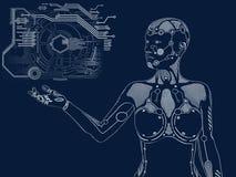 tolkning 3D av det digitala begreppet för kvinnlig robot arkivfoton