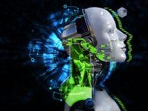 tolkning 3D av det kvinnliga begreppet för robothuvudteknologi Arkivbilder