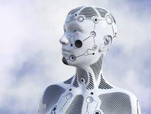 tolkning 3D av det kvinnliga robothuvudet Royaltyfri Fotografi