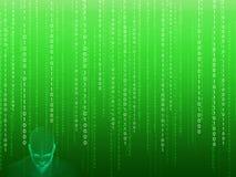 tolkning 3D av det mänskliga huvudet med binär kod Arkivfoton