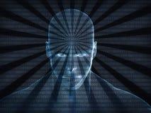 tolkning 3D av det mänskliga huvudet med binär kod Royaltyfri Fotografi