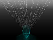 tolkning 3D av det mänskliga huvudet med binär kod Royaltyfria Foton