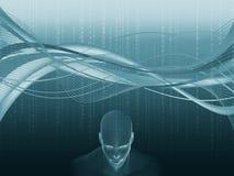 tolkning 3D av det mänskliga huvudet med binär kod Royaltyfri Foto