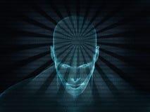 tolkning 3D av det mänskliga huvudet med binär kod Arkivbild