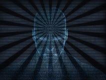 tolkning 3D av det mänskliga huvudet med binär kod Arkivbilder