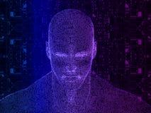 tolkning 3D av det mänskliga huvudet med strömkretsen Royaltyfri Bild