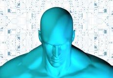 tolkning 3D av det mänskliga huvudet med strömkretsen Royaltyfri Fotografi