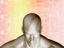 tolkning 3D av det mänskliga huvudet och den futuristiska beståndsdelströmkretsen Arkivfoton